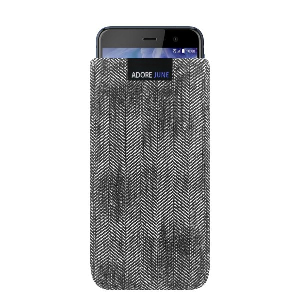 The picture shows the front of Business Sleeve for HTC U Play in color Grey / Black; As an illustration, it also shows what the compatible device looks like in this bag