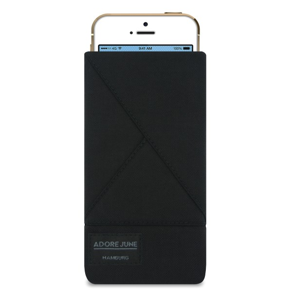The picture shows the front of Triangle Sleeve for Apple iPhone SE and iPhone 5 and 5S in color Black; As an illustration, it also shows what the compatible device looks like in this bag