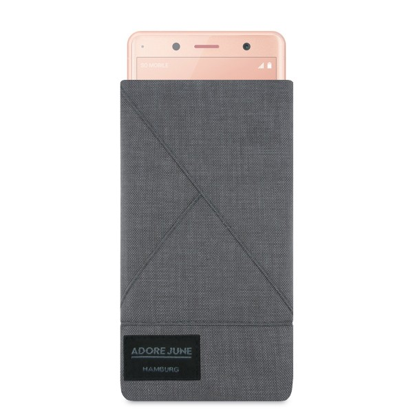 The picture shows the front of Triangle Sleeve for Sony Xperia XZ2 Compact in color Dark Grey; As an illustration, it also shows what the compatible device looks like in this bag