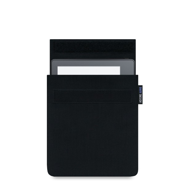 The picture shows the front of Classic Sleeve for Kindle Oasis 2016 in color Black; As an illustration, it also shows what the compatible device looks like in this bag