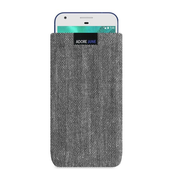 The picture shows the front of Business Sleeve for Google Pixel XL in color Grey / Black; As an illustration, it also shows what the compatible device looks like in this bag