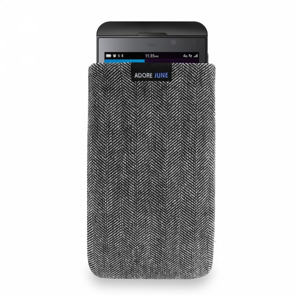 The picture shows the front of Business Sleeve for BlackBerry Z10 in color Grey / Black; As an illustration, it also shows what the compatible device looks like in this bag