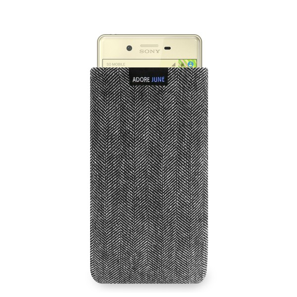 The picture shows the front of Business Sleeve for Sony Xperia X in color Grey / Black; As an illustration, it also shows what the compatible device looks like in this bag