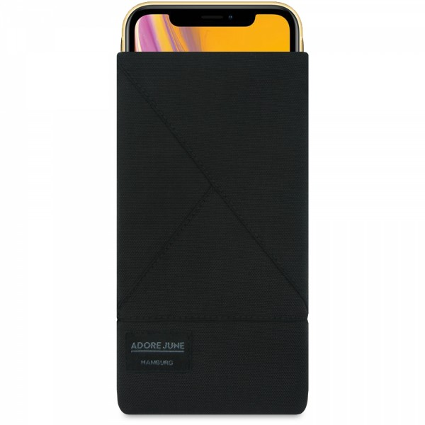 The picture shows the front of Triangle Sleeve for Apple iPhone XR in color Black; As an illustration, it also shows what the compatible device looks like in this bag