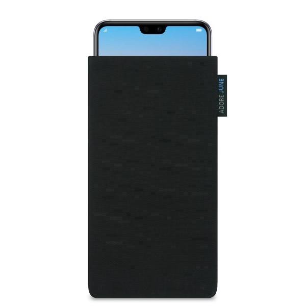 The picture shows the front of Classic Sleeve for Huawei P20 PRO in color Black; As an illustration, it also shows what the compatible device looks like in this bag