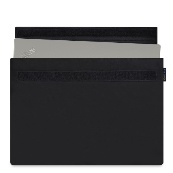 The picture shows the front of Classic Sleeve for Lenovo Yoga 370 in color Black; As an illustration, it also shows what the compatible device looks like in this bag