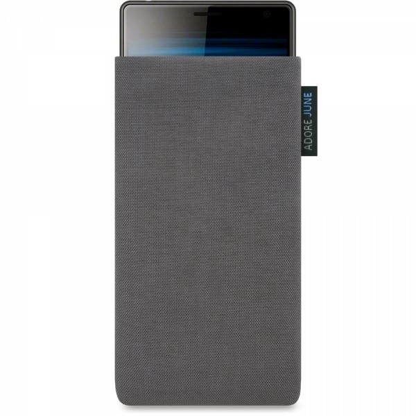 The picture shows the front of Classic Sleeve for Sony Xperia 10 Plus and Xperia 1 in color Dark Grey; As an illustration, it also shows what the compatible device looks like in this bag