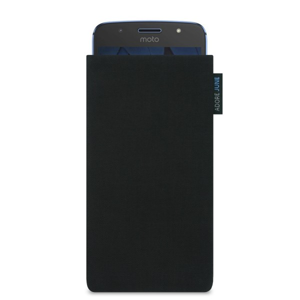 The picture shows the front of Classic Sleeve for Motorola Moto G5S in color Black; As an illustration, it also shows what the compatible device looks like in this bag