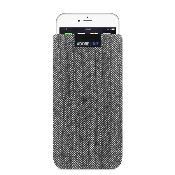 The picture shows the front of Business Sleeve for Apple iPhone 6 6S and iPhone 7 in color Grey / Black; As an illustration, it also shows what the compatible device looks like in this bag