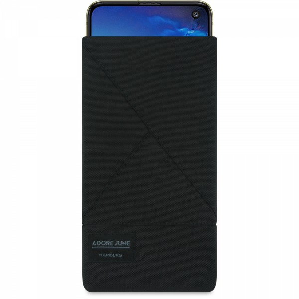 The picture shows the front of Triangle Sleeve for Samsung Galaxy S10e in color Black; As an illustration, it also shows what the compatible device looks like in this bag