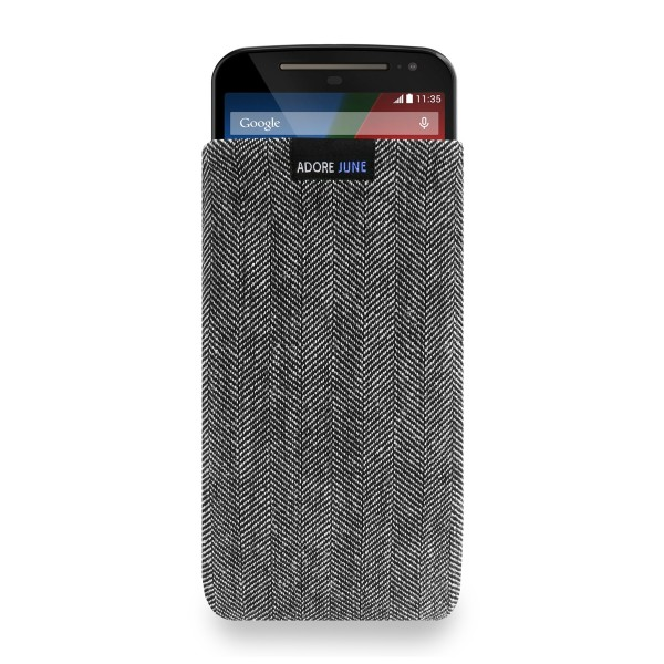 The picture shows the front of Business Sleeve for Motorola Moto G 2014 2. Gen in color Grey / Black; As an illustration, it also shows what the compatible device looks like in this bag