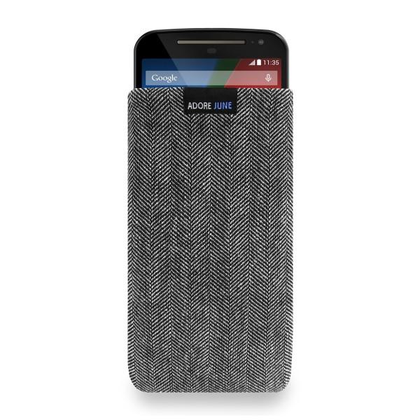 Das Bild zeigt die Vorderseite von Business Tasche für Motorola Moto G 2014 2. Gen in Farbe Grau / Schwarz; Zur Veranschaulichung wird ebenfalls dargestellt, wie das kompatible Gerät in dieser Tasche aussieht