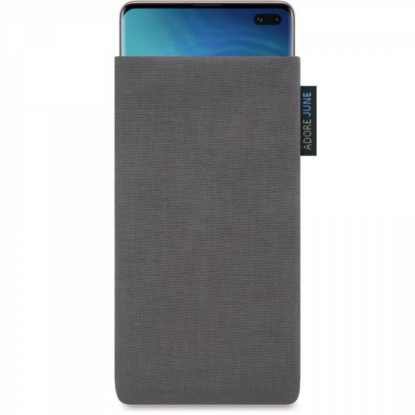 Das Bild zeigt die Vorderseite von Classic Tasche für Samsung Galaxy S10 Plus in Farbe Dunkelgrau; Zur Veranschaulichung wird ebenfalls dargestellt, wie das kompatible Gerät in dieser Tasche aussieht