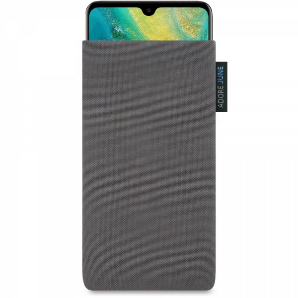 The picture shows the front of Classic Sleeve for Huawei Mate 20 in color Dark Grey; As an illustration, it also shows what the compatible device looks like in this bag