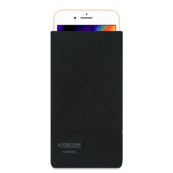 The picture shows the front of Triangle Sleeve for Apple iPhone 8 in color Black; As an illustration, it also shows what the compatible device looks like in this bag
