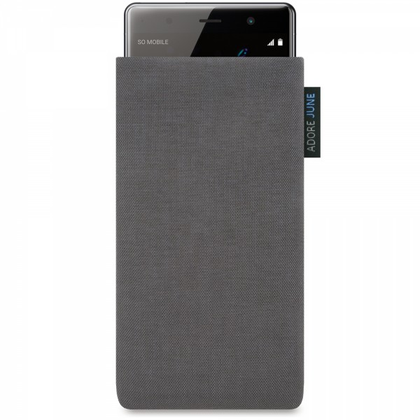 The picture shows the front of Classic Sleeve for Sony Xperia XZ2 Premium in color Dark Grey; As an illustration, it also shows what the compatible device looks like in this bag