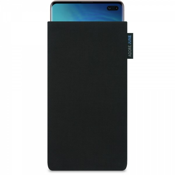 The picture shows the front of Classic Sleeve for Samsung Galaxy S10 Plus in color Black; As an illustration, it also shows what the compatible device looks like in this bag