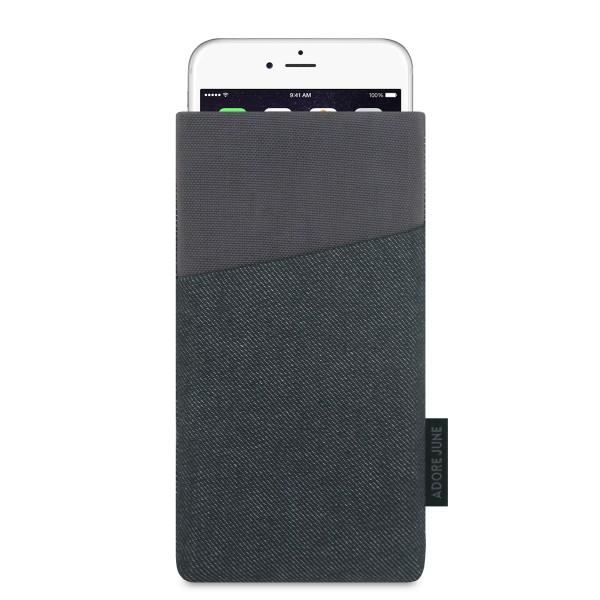 Das Bild zeigt die Vorderseite von Clive Tasche für Apple iPhone 6 6S und iPhone 7 in Farbe Schwarz / Grau; Zur Veranschaulichung wird ebenfalls dargestellt, wie das kompatible Gerät in dieser Tasche aussieht