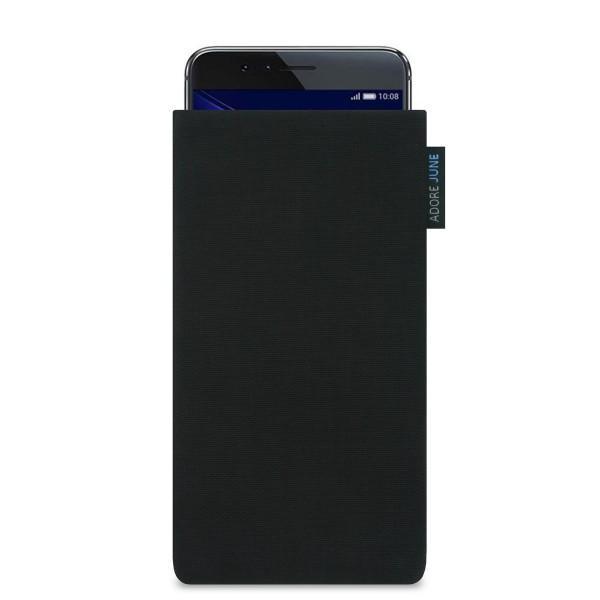 Das Bild zeigt die Vorderseite von Classic Tasche für Honor 8 in Farbe Schwarz; Zur Veranschaulichung wird ebenfalls dargestellt, wie das kompatible Gerät in dieser Tasche aussieht