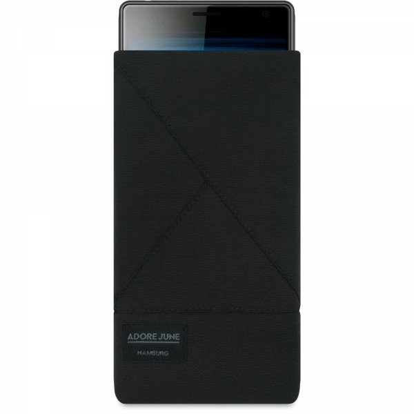 Das Bild zeigt die Vorderseite von Triangle Tasche für Sony Xperia 10 in Farbe Schwarz; Zur Veranschaulichung wird ebenfalls dargestellt, wie das kompatible Gerät in dieser Tasche aussieht