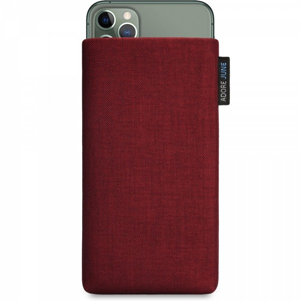 The picture shows the front of Classic Sleeve for Apple iPhone 11 Pro Max in color Bordeaux-Red; As an illustration, it also shows what the compatible device looks like in this bag