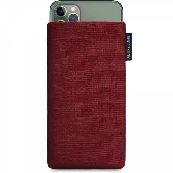 Das Bild zeigt die Vorderseite von Classic Tasche für Apple iPhone 11 Pro Max in Farbe Bordeaux-Rot; Zur Veranschaulichung wird ebenfalls dargestellt, wie das kompatible Gerät in dieser Tasche aussieht