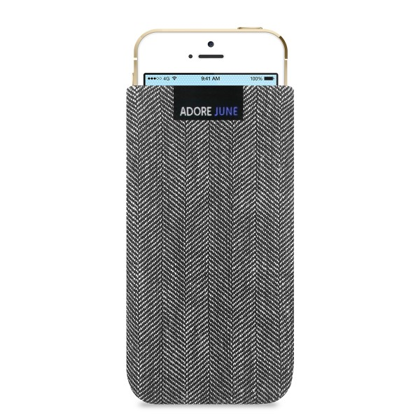 The picture shows the front of Business Sleeve for Apple iPhone SE and iPhone 5 and 5S in color Grey / Black; As an illustration, it also shows what the compatible device looks like in this bag