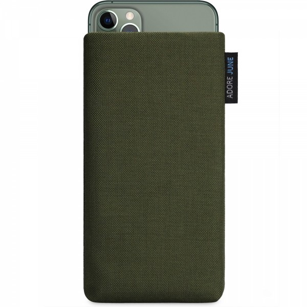 The picture shows the front of Classic Sleeve for Apple iPhone 11 Pro Max in color Olive-Green; As an illustration, it also shows what the compatible device looks like in this bag