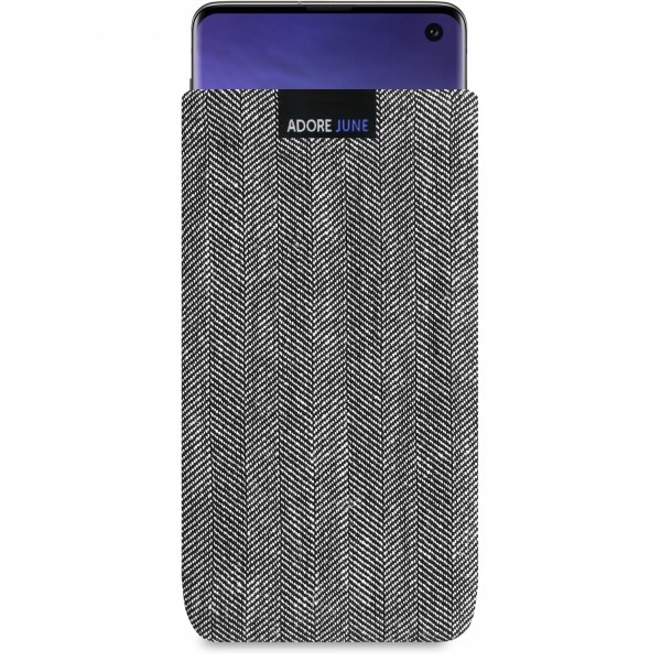 The picture shows the front of Business Sleeve for Samsung Galaxy S10 in color Grey / Black; As an illustration, it also shows what the compatible device looks like in this bag