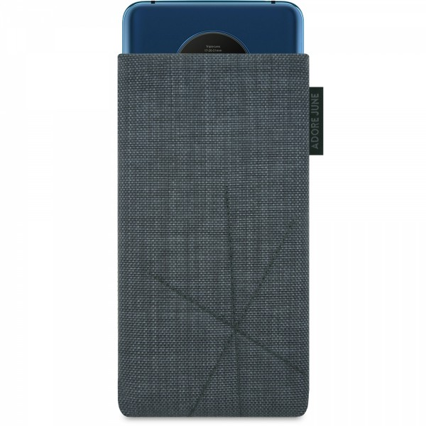 The picture shows the front of Axis Sleeve for OnePlus 7T with Retract Function in color Dark Grey; As an illustration, it also shows what the compatible device looks like in this bag