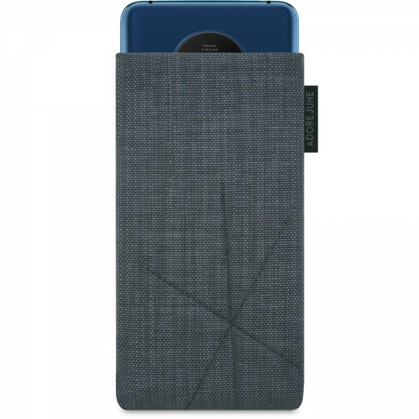 Das Bild zeigt die Vorderseite von Axis Tasche für OnePlus 7T mit Rückzugsfunktion in Farbe Dunkelgrau; Zur Veranschaulichung wird ebenfalls dargestellt, wie das kompatible Gerät in dieser Tasche aussieht