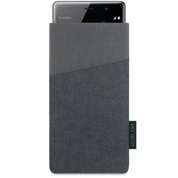 The picture shows the front of Clive Sleeve for Sony Xperia XZ2 Premium in color Black / Grey; As an illustration, it also shows what the compatible device looks like in this bag