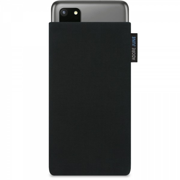 The picture shows the front of Classic Sleeve for Samsung Galaxy S20 Plus in color Black; As an illustration, it also shows what the compatible device looks like in this bag