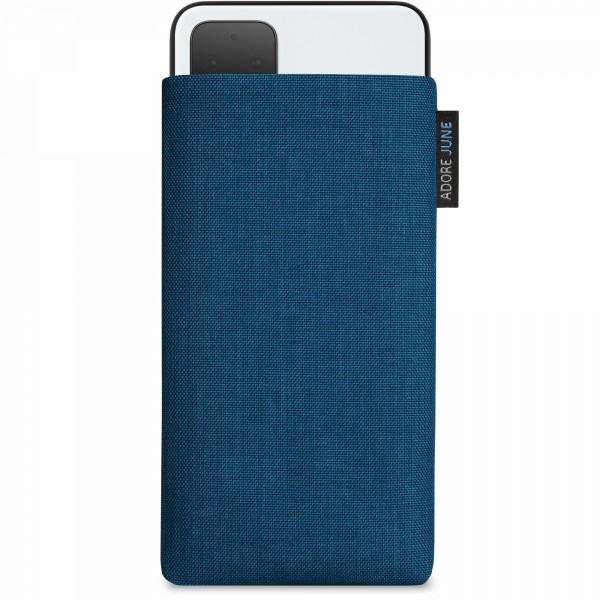 The picture shows the front of Classic Sleeve for Google Pixel 4 XL in color Ocean-Blue; As an illustration, it also shows what the compatible device looks like in this bag