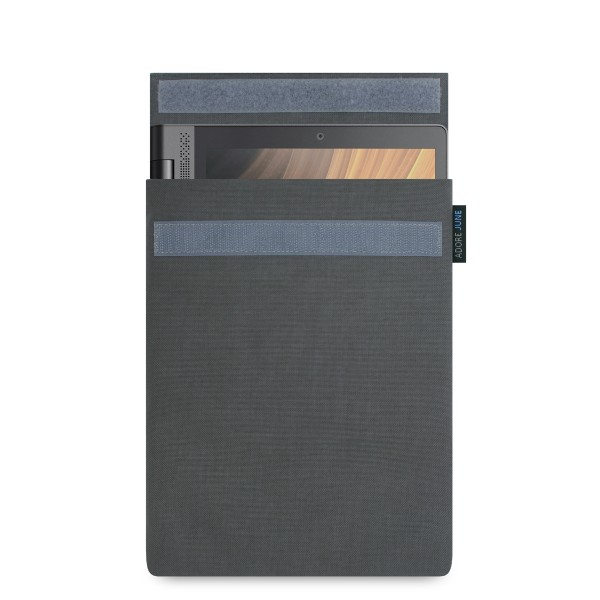 The picture shows the front of Classic Sleeve for Lenovo Yoga Tab 3 Plus in color Dark Grey; As an illustration, it also shows what the compatible device looks like in this bag