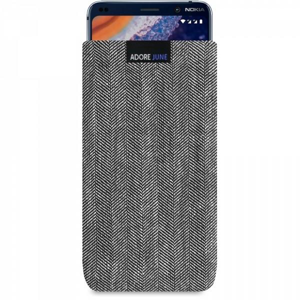 Das Bild zeigt die Vorderseite von Business Tasche für Nokia 9 Pureview in Farbe Grau / Schwarz; Zur Veranschaulichung wird ebenfalls dargestellt, wie das kompatible Gerät in dieser Tasche aussieht