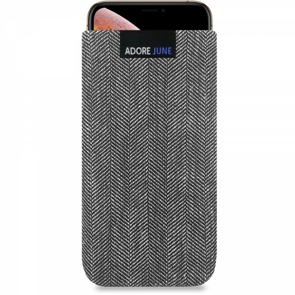 The picture shows the front of Business Sleeve for Apple iPhone X and iPhone Xs in color Grey / Black; As an illustration, it also shows what the compatible device looks like in this bag