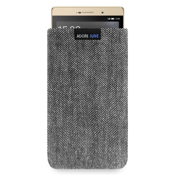 The picture shows the front of Business Sleeve for Huawei P8 Max in color Grey / Black; As an illustration, it also shows what the compatible device looks like in this bag