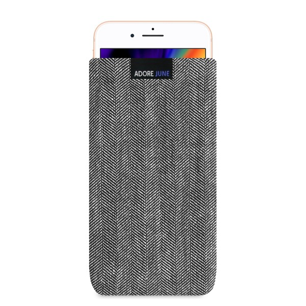 The picture shows the front of Business Sleeve for Apple iPhone 8 Plus in color Grey / Black; As an illustration, it also shows what the compatible device looks like in this bag