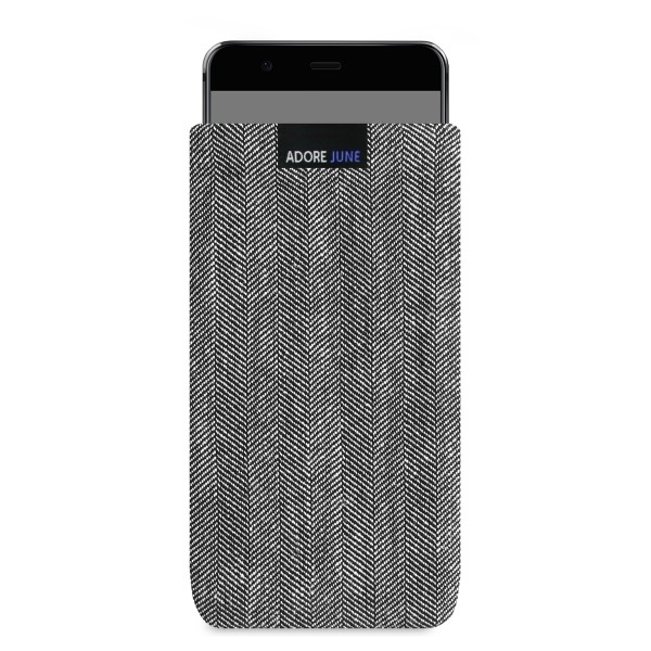 The picture shows the front of Business Sleeve for Huawei P10 Plus in color Grey / Black; As an illustration, it also shows what the compatible device looks like in this bag