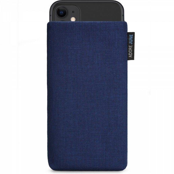 The picture shows the front of Classic Sleeve for Apple iPhone 11 in color Midnight Blue; As an illustration, it also shows what the compatible device looks like in this bag