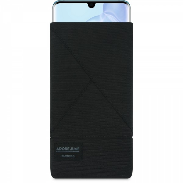 The picture shows the front of Triangle Sleeve for Huawei P30 PRO in color Black; As an illustration, it also shows what the compatible device looks like in this bag