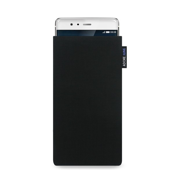 The picture shows the front of Classic Sleeve for Huawei P9 in color Black; As an illustration, it also shows what the compatible device looks like in this bag