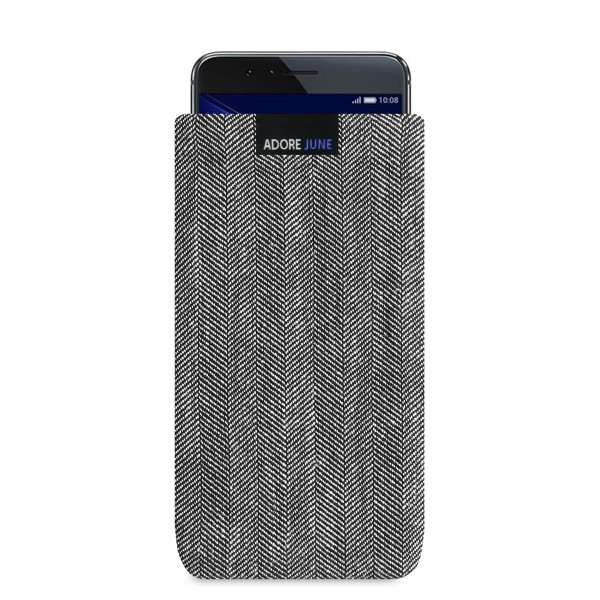 The picture shows the front of Business Sleeve for Honor 8 in color Grey / Black; As an illustration, it also shows what the compatible device looks like in this bag