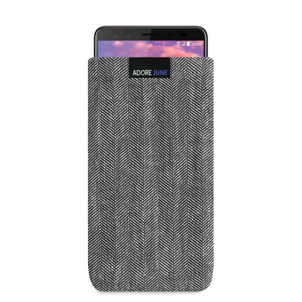 The picture shows the front of Business Sleeve for HTC U12 Plus in color Grey / Black; As an illustration, it also shows what the compatible device looks like in this bag