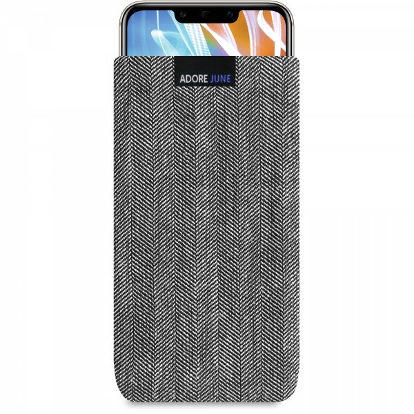 The picture shows the front of Business Sleeve for Huawei Mate 20 LITE in color Grey / Black; As an illustration, it also shows what the compatible device looks like in this bag