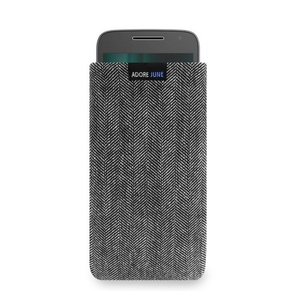 The picture shows the front of Business Sleeve for Motorola Moto G5 and Moto G4 Play in color Grey / Black; As an illustration, it also shows what the compatible device looks like in this bag