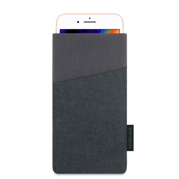 The picture shows the front of Clive Sleeve for Apple iPhone 8 in color Black / Grey; As an illustration, it also shows what the compatible device looks like in this bag