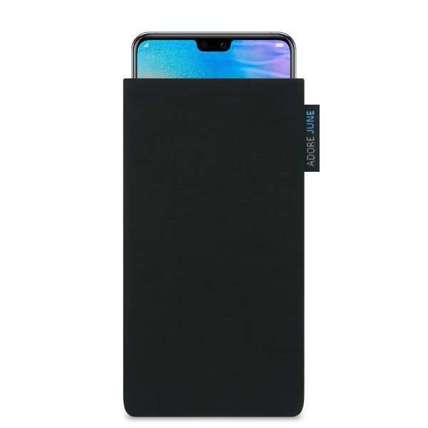 The picture shows the front of Classic Sleeve for Huawei P20 and Huawei P20 Lite in color Black; As an illustration, it also shows what the compatible device looks like in this bag