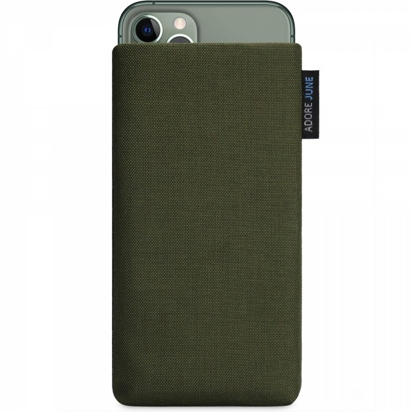 The picture shows the front of Classic Sleeve for Apple iPhone 11 Pro in color Olive-Green; As an illustration, it also shows what the compatible device looks like in this bag